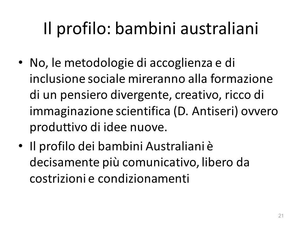 Il profilo: bambini australiani No, le metodologie di accoglienza e di inclusione sociale mireranno alla formazione di un pensiero divergente, creativ