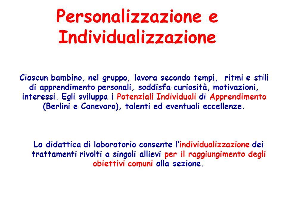 Personalizzazione e Individualizzazione Ciascun bambino, nel gruppo, lavora secondo tempi, ritmi e stili di apprendimento personali, soddisfa curiosit