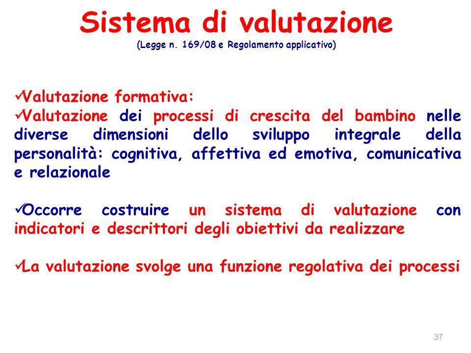 Sistema di valutazione (Legge n. 169/08 e Regolamento applicativo) 37 Valutazione formativa: Valutazione dei processi di crescita del bambino nelle di