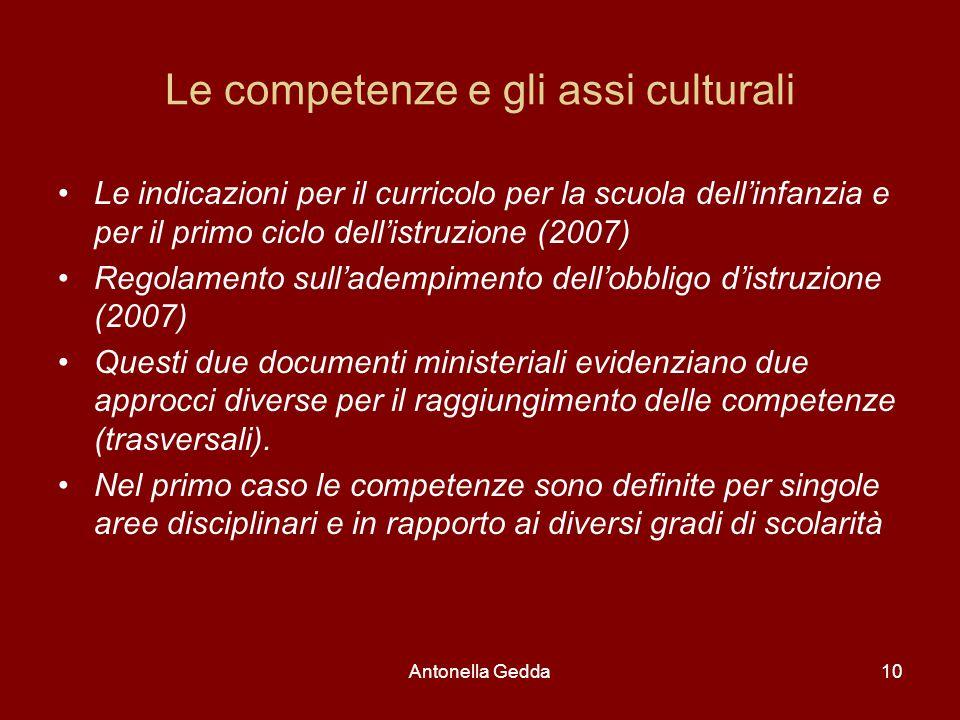 Antonella Gedda10 Le competenze e gli assi culturali Le indicazioni per il curricolo per la scuola dell'infanzia e per il primo ciclo dell'istruzione