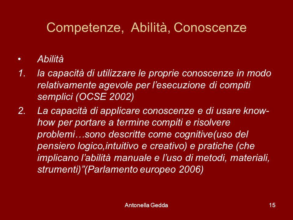 Antonella Gedda15 Competenze, Abilità, Conoscenze Abilità 1.la capacità di utilizzare le proprie conoscenze in modo relativamente agevole per l'esecuz