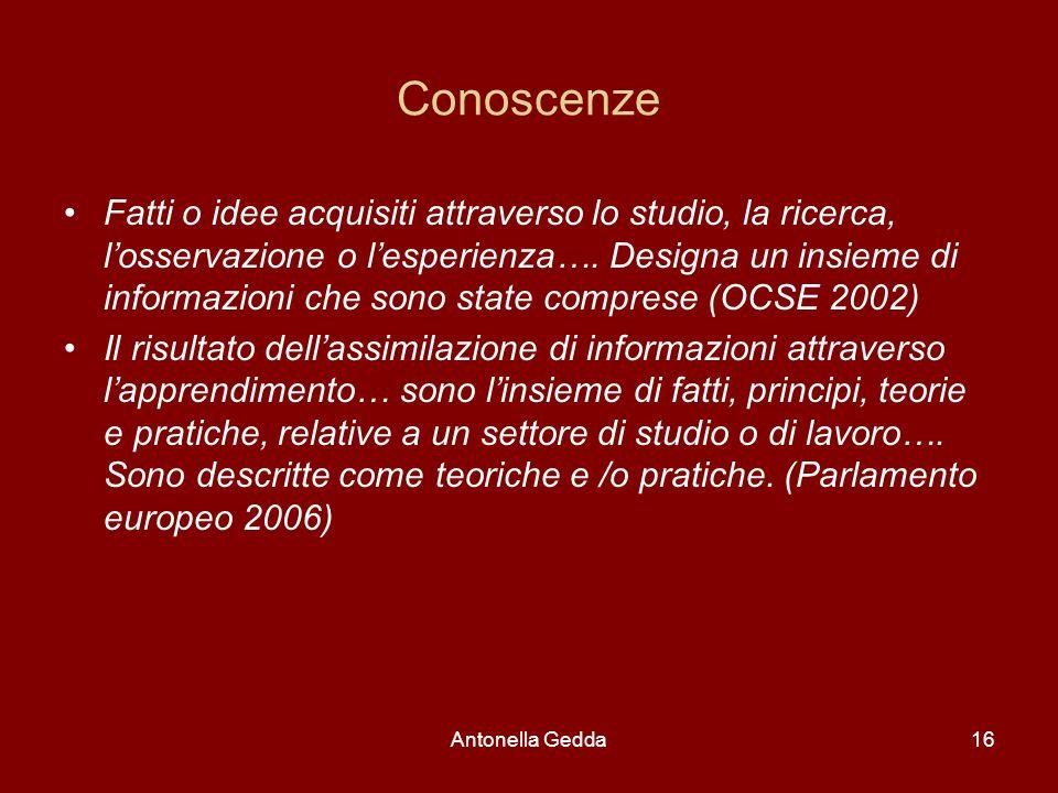 Antonella Gedda16 Conoscenze Fatti o idee acquisiti attraverso lo studio, la ricerca, l'osservazione o l'esperienza…. Designa un insieme di informazio