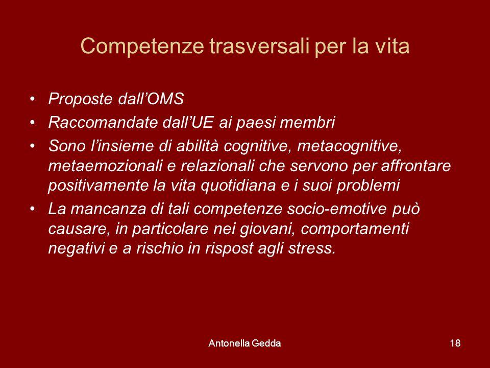 Antonella Gedda18 Competenze trasversali per la vita Proposte dall'OMS Raccomandate dall'UE ai paesi membri Sono l'insieme di abilità cognitive, metac