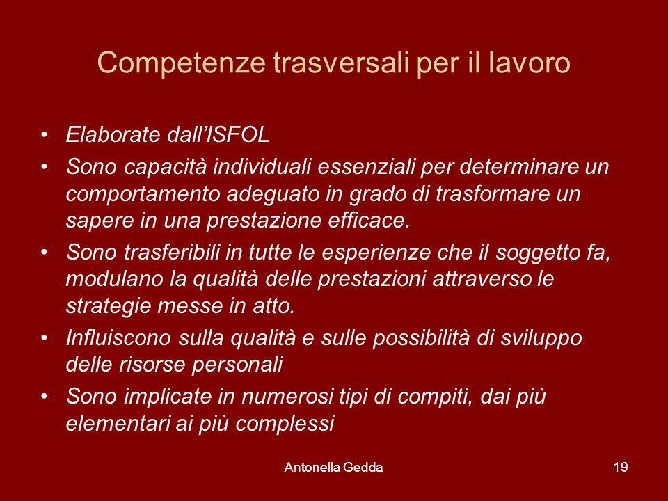 Antonella Gedda19 Competenze trasversali per il lavoro Elaborate dall'ISFOL Sono capacità individuali essenziali per determinare un comportamento adeg