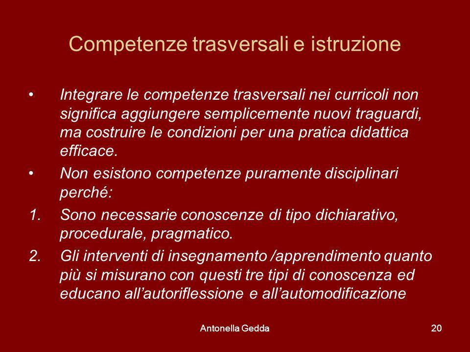 Antonella Gedda20 Competenze trasversali e istruzione Integrare le competenze trasversali nei curricoli non significa aggiungere semplicemente nuovi t