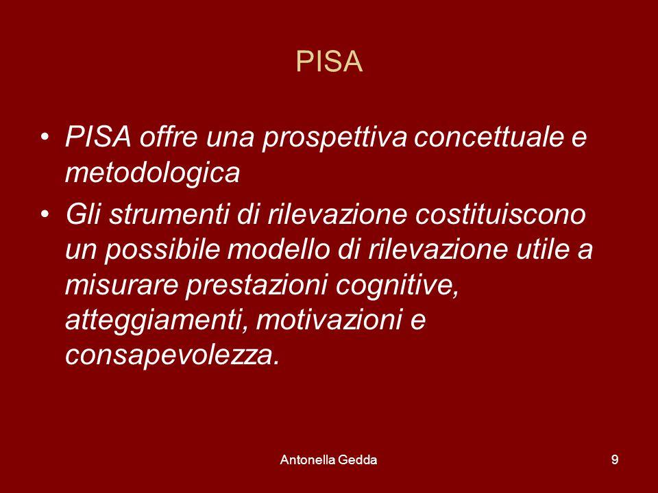 Antonella Gedda9 PISA PISA offre una prospettiva concettuale e metodologica Gli strumenti di rilevazione costituiscono un possibile modello di rilevazione utile a misurare prestazioni cognitive, atteggiamenti, motivazioni e consapevolezza.