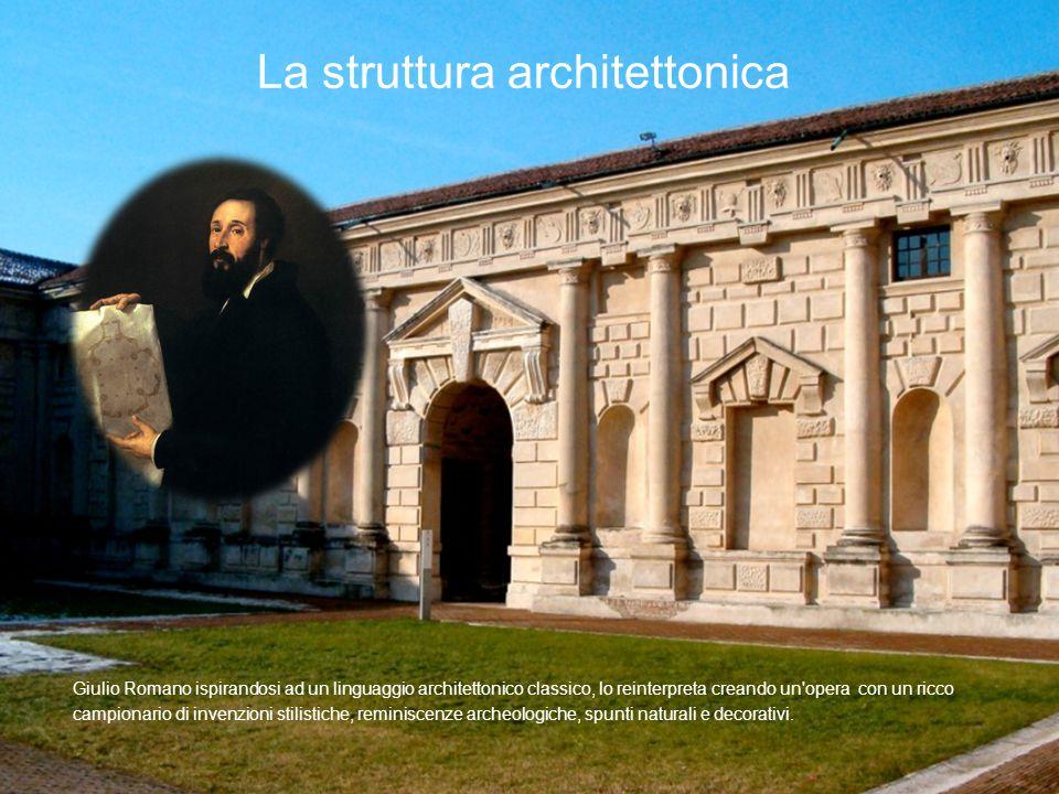 Giulio Romano ispirandosi ad un linguaggio architettonico classico, lo reinterpreta creando un'opera con un ricco campionario di invenzioni stilistich