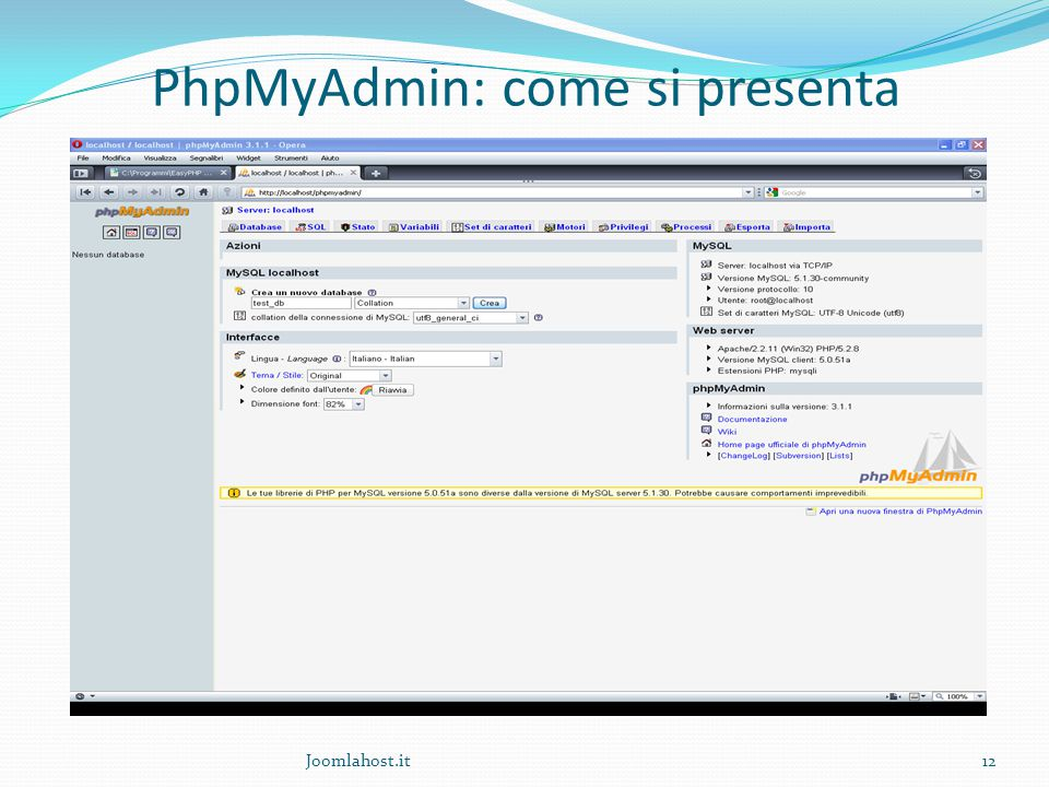 12 PhpMyAdmin: come si presenta