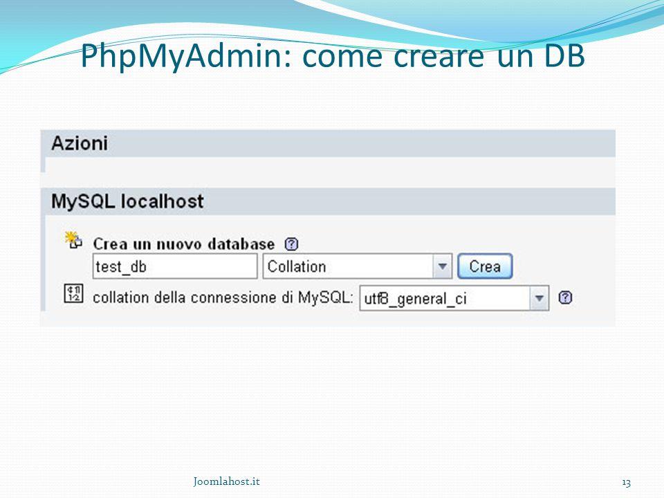 Joomlahost.it13 PhpMyAdmin: come creare un DB