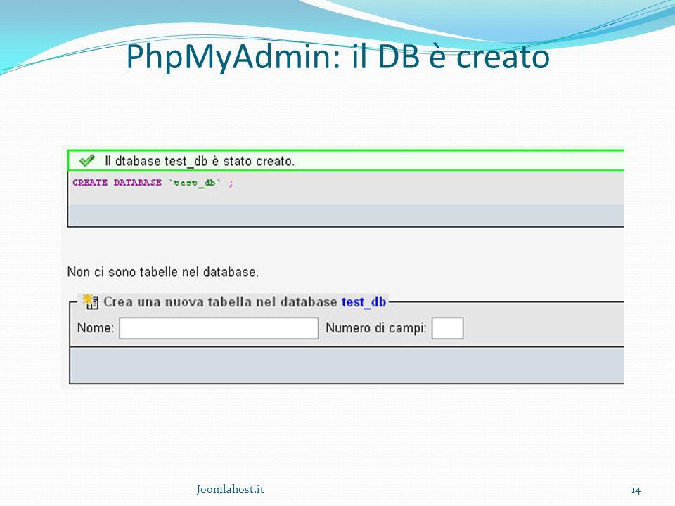 Joomlahost.it14 PhpMyAdmin: il DB è creato