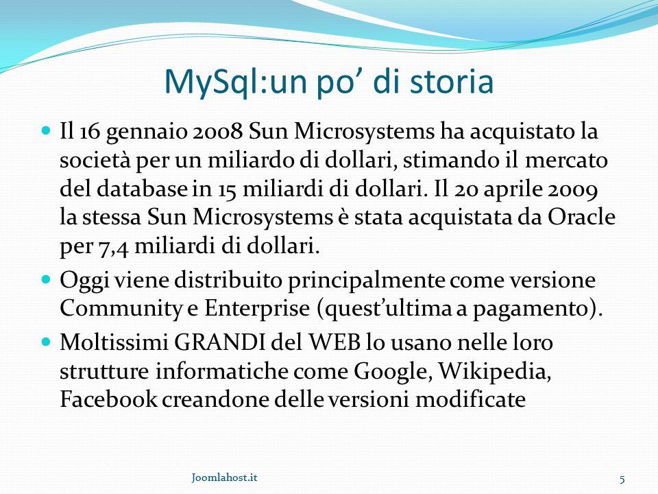 Joomlahost.it5 MySql:un po' di storia Il 16 gennaio 2008 Sun Microsystems ha acquistato la società per un miliardo di dollari, stimando il mercato del database in 15 miliardi di dollari.