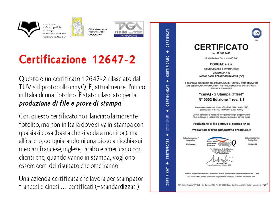 Certificazione 12647-2 Questo è un certificato 12647-2 rilasciato dal TUV sul protocollo cmyQ.
