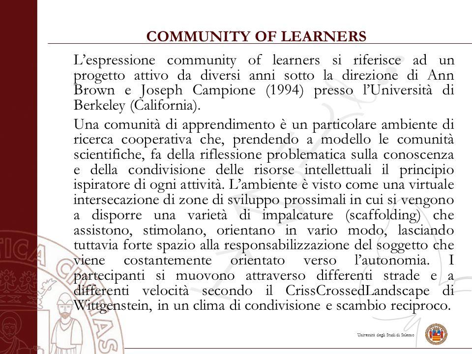 Università degli Studi di Salerno COMMUNITY OF LEARNERS L'espressione community of learners si riferisce ad un progetto attivo da diversi anni sotto la direzione di Ann Brown e Joseph Campione (1994) presso l'Università di Berkeley (California).