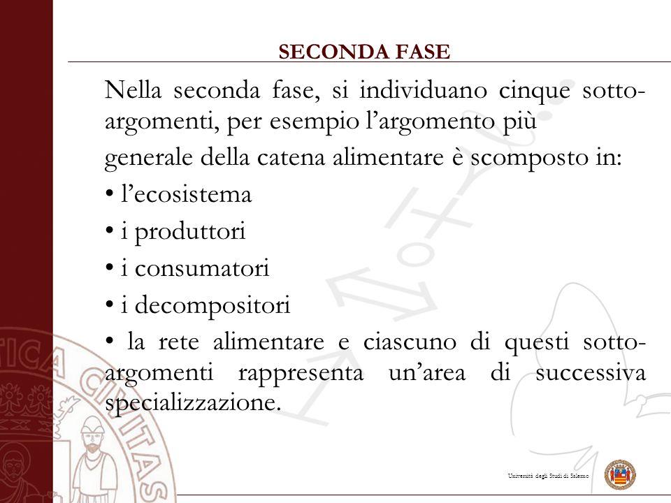 Università degli Studi di Salerno SECONDA FASE Nella seconda fase, si individuano cinque sotto- argomenti, per esempio l'argomento più generale della catena alimentare è scomposto in: l'ecosistema i produttori i consumatori i decompositori la rete alimentare e ciascuno di questi sotto- argomenti rappresenta un'area di successiva specializzazione.