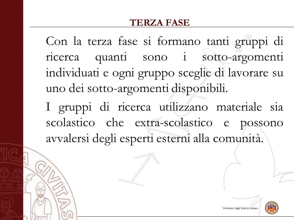 Università degli Studi di Salerno TERZA FASE Con la terza fase si formano tanti gruppi di ricerca quanti sono i sotto-argomenti individuati e ogni gruppo sceglie di lavorare su uno dei sotto-argomenti disponibili.