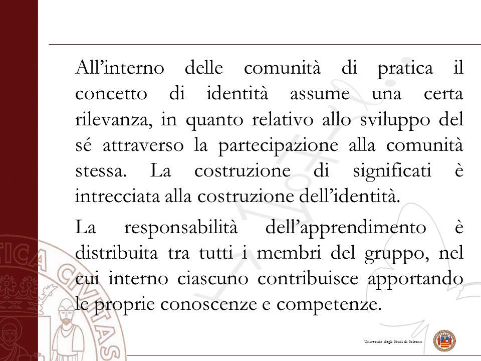 Università degli Studi di Salerno All'interno delle comunità di pratica il concetto di identità assume una certa rilevanza, in quanto relativo allo sviluppo del sé attraverso la partecipazione alla comunità stessa.