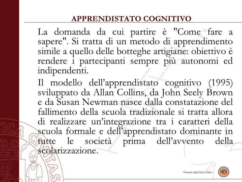 Università degli Studi di Salerno APPRENDISTATO COGNITIVO La domanda da cui partire è Come fare a sapere .