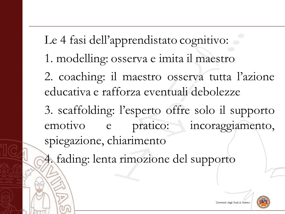 Università degli Studi di Salerno Le 4 fasi dell'apprendistato cognitivo: 1.