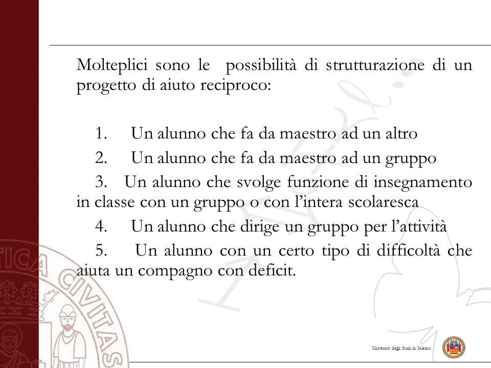 Università degli Studi di Salerno Molteplici sono le possibilità di strutturazione di un progetto di aiuto reciproco: 1.