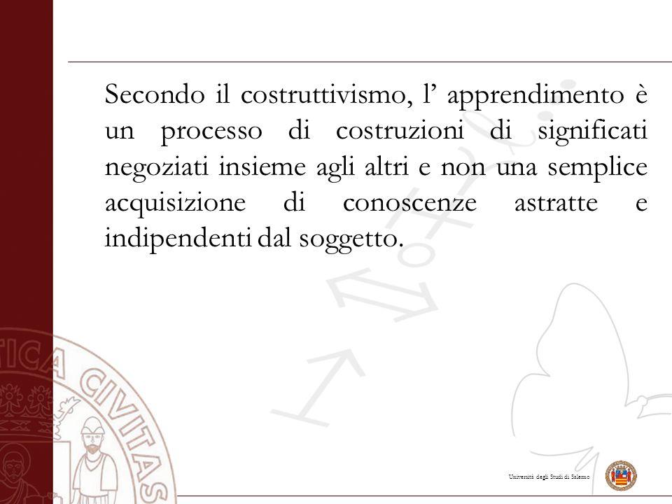 Università degli Studi di Salerno Secondo il costruttivismo, l' apprendimento è un processo di costruzioni di significati negoziati insieme agli altri e non una semplice acquisizione di conoscenze astratte e indipendenti dal soggetto.