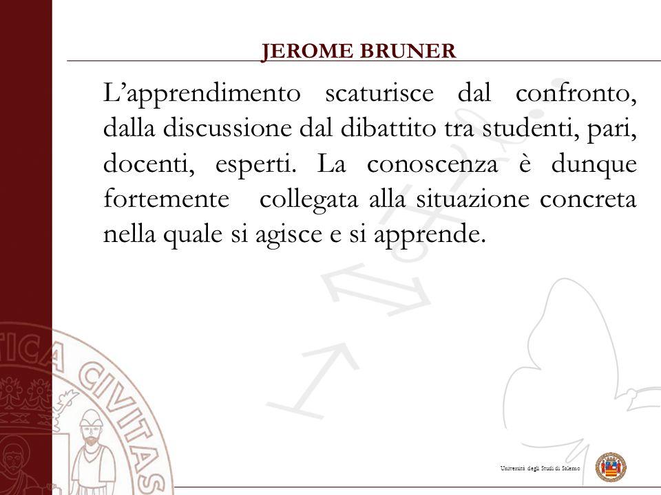 Università degli Studi di Salerno JEROME BRUNER L'apprendimento scaturisce dal confronto, dalla discussione dal dibattito tra studenti, pari, docenti, esperti.