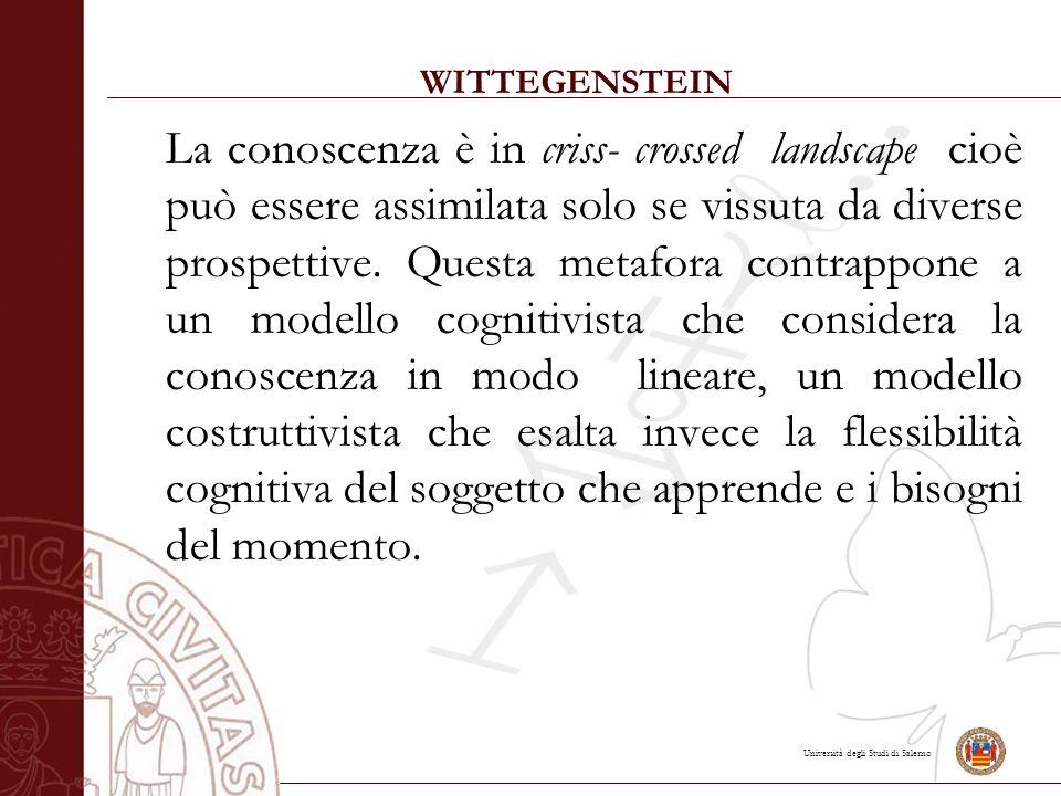 Università degli Studi di Salerno WITTEGENSTEIN La conoscenza è in criss- crossed landscape cioè può essere assimilata solo se vissuta da diverse prospettive.