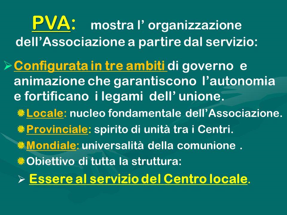 PVA PVA: mostra l' organizzazione dell'Associazione a partire dal servizio:  Configurata in tre ambiti di governo e animazione che garantiscono l'autonomia e fortificano i legami dell' unione.