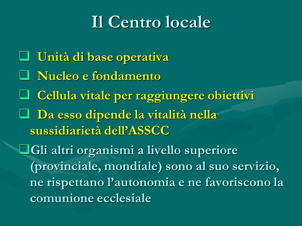Il Centro locale  Unità di base operativa  Nucleo e fondamento  Cellula vitale per raggiungere obiettivi  Da esso dipende la vitalità nella sussidiarietà dell'ASSCC  Gli altri organismi a livello superiore (provinciale, mondiale) sono al suo servizio, ne rispettano l'autonomia e ne favoriscono la comunione ecclesiale