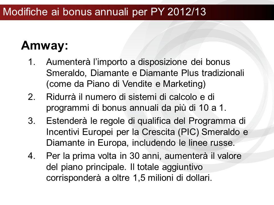 Modifiche ai bonus annuali per PY 2012/13 1.Aumenterà l'importo a disposizione dei bonus Smeraldo, Diamante e Diamante Plus tradizionali (come da Pian