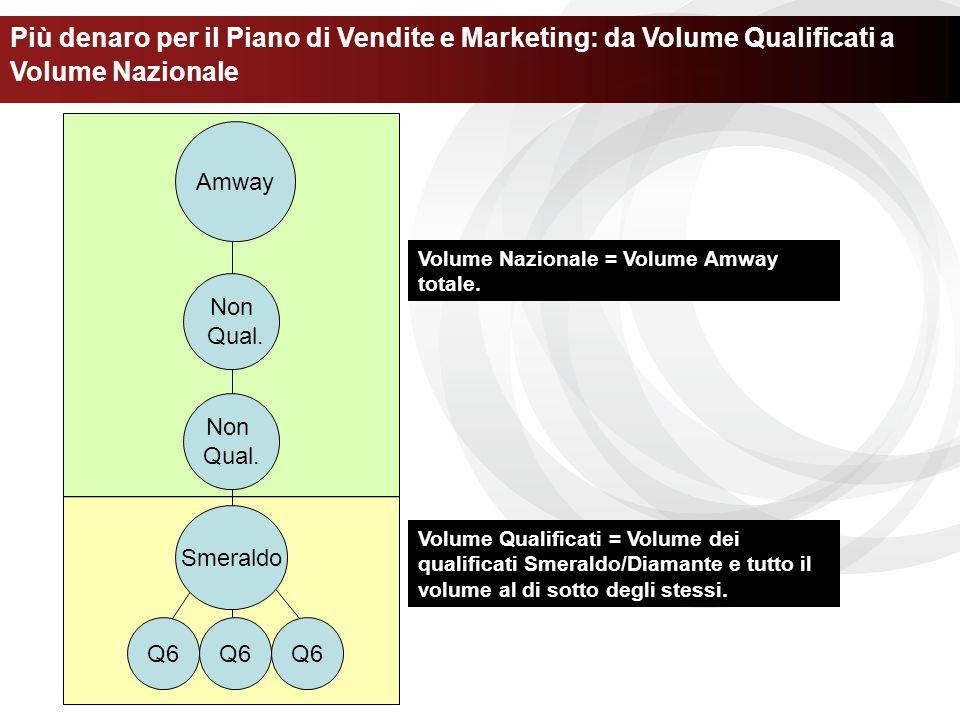 Non Qual. Non Qual. Amway Più denaro per il Piano di Vendite e Marketing: da Volume Qualificati a Volume Nazionale Smeraldo Q6 Volume Qualificati = Vo