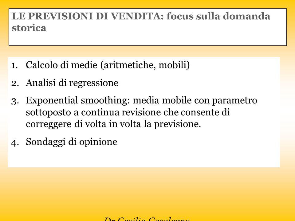 Dr Cecilia Casalegno LE PREVISIONI DI VENDITA: focus sulla domanda storica 1.Calcolo di medie (aritmetiche, mobili) 2.Analisi di regressione 3.Exponen