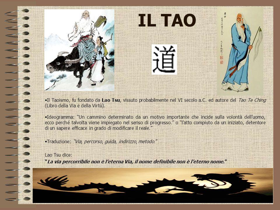 IL TAO Il Taoismo, fu fondato da Lao Tsu, vissuto probabilmente nel VI secolo a.C. ed autore del Tao Te Ching (Libro della Via e della Virtù). Ideogra