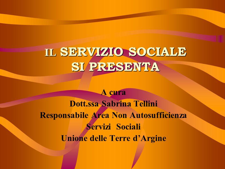 IL SERVIZIO SOCIALE SI PRESENTA A cura Dott.ssa Sabrina Tellini Responsabile Area Non Autosufficienza Servizi Sociali Unione delle Terre d'Argine