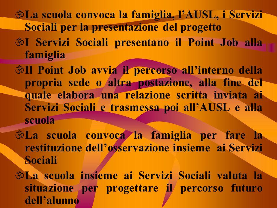 \La scuola convoca la famiglia, l'AUSL, i Servizi Sociali per la presentazione del progetto \I Servizi Sociali presentano il Point Job alla famiglia \