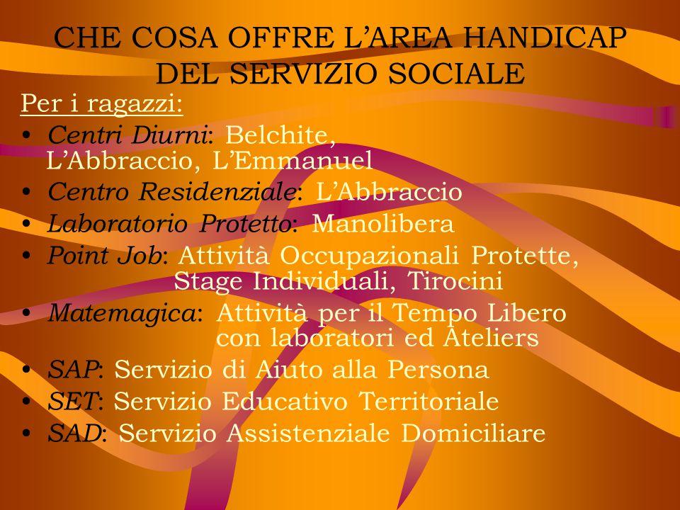 CHE COSA OFFRE L'AREA HANDICAP DEL SERVIZIO SOCIALE Per i ragazzi: Centri Diurni : Belchite, L'Abbraccio, L'Emmanuel Centro Residenziale : L'Abbraccio