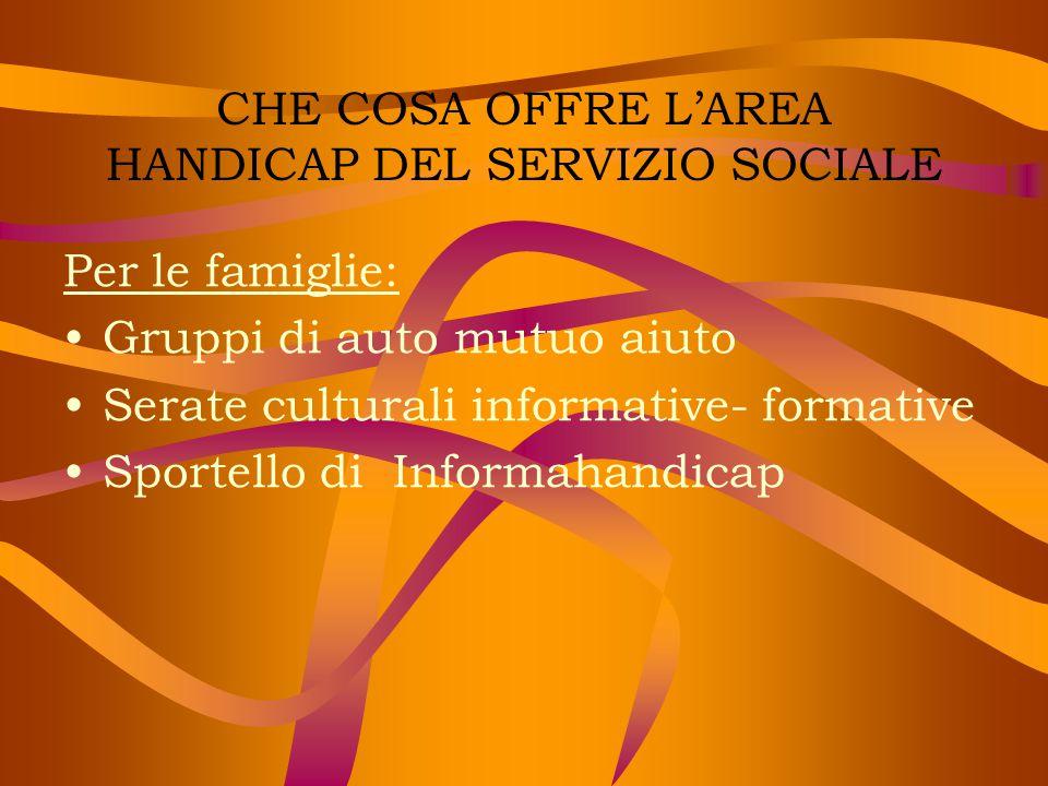 CHE COSA OFFRE L'AREA HANDICAP DEL SERVIZIO SOCIALE Per le famiglie: Gruppi di auto mutuo aiuto Serate culturali informative- formative Sportello di I