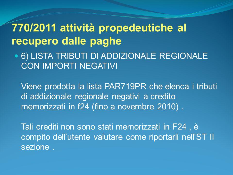 770/2011 attività propedeutiche al recupero dalle paghe 6) LISTA TRIBUTI DI ADDIZIONALE REGIONALE CON IMPORTI NEGATIVI Viene prodotta la lista PAR719P