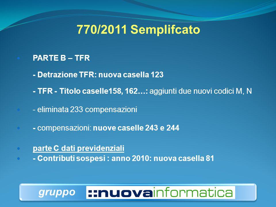 770/2011 Semplifcato PARTE B – TFR - Detrazione TFR: nuova casella 123 - TFR - Titolo caselle158, 162…: aggiunti due nuovi codici M, N - eliminata 233