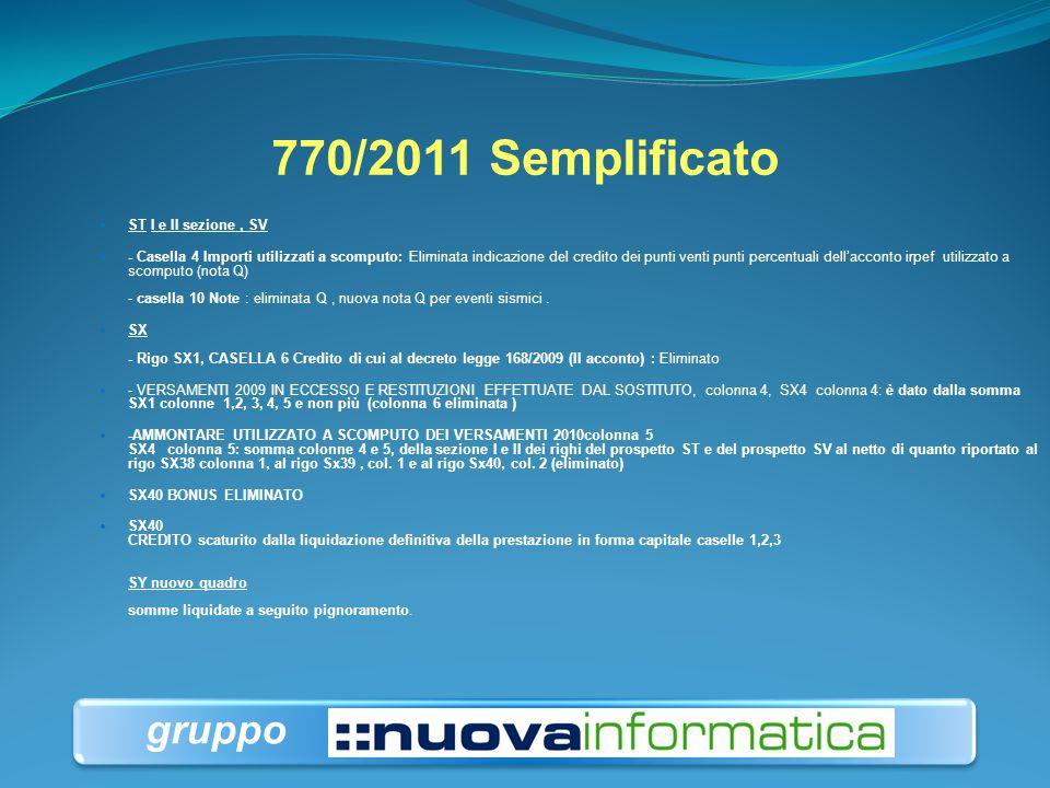 770/2011 Semplificato ST I e II sezione, SV - Casella 4 Importi utilizzati a scomputo: Eliminata indicazione del credito dei punti venti punti percent