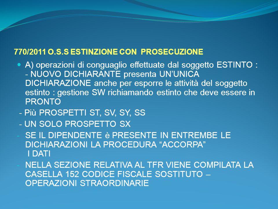 770/2011 O.S.S ESTINZIONE CON PROSECUZIONE A) operazioni di conguaglio effettuate dal soggetto ESTINTO : - NUOVO DICHIARANTE presenta UN'UNICA DICHIAR