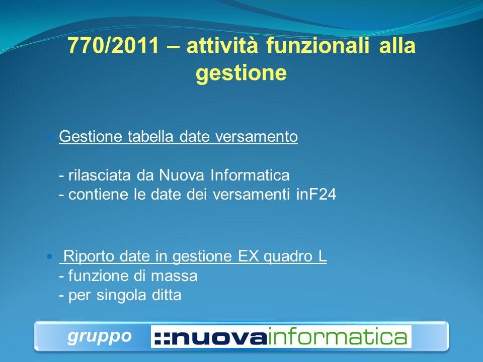 770/2011 – attività funzionali alla gestione Gestione tabella date versamento - rilasciata da Nuova Informatica - contiene le date dei versamenti inF2