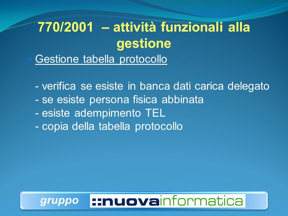 770/2001 – attività funzionali alla gestione Gestione tabella protocollo - verifica se esiste in banca dati carica delegato - se esiste persona fisica