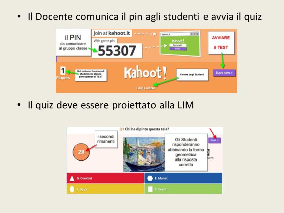 Il Docente comunica il pin agli studenti e avvia il quiz Il quiz deve essere proiettato alla LIM