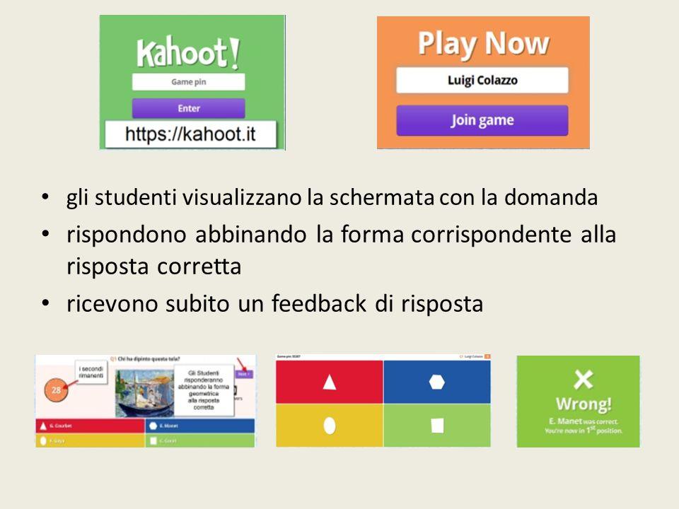 gli studenti visualizzano la schermata con la domanda rispondono abbinando la forma corrispondente alla risposta corretta ricevono subito un feedback di risposta