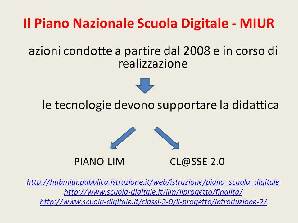 Il Piano Nazionale Scuola Digitale - MIUR azioni condotte a partire dal 2008 e in corso di realizzazione le tecnologie devono supportare la didattica PIANO LIM CL@SSE 2.0 http://hubmiur.pubblica.istruzione.it/web/istruzione/piano_scuola_digitale http://www.scuola-digitale.it/lim/ilprogetto/finalita/ http://www.scuola-digitale.it/classi-2-0/il-progetto/introduzione-2/