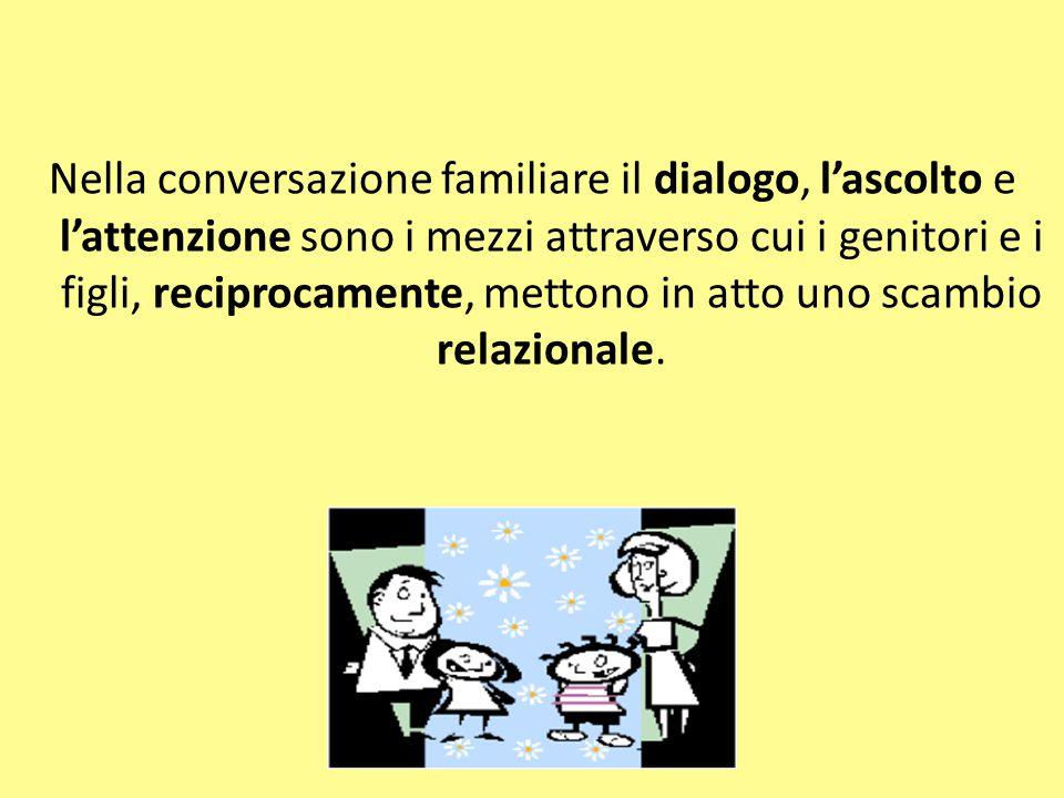 Nella conversazione familiare il dialogo, l'ascolto e l'attenzione sono i mezzi attraverso cui i genitori e i figli, reciprocamente, mettono in atto u