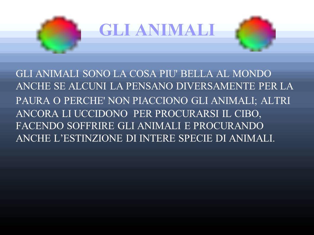 GLI ANIMALI GLI ANIMALI SONO LA COSA PIU BELLA AL MONDO ANCHE SE ALCUNI LA PENSANO DIVERSAMENTE PER LA PAURA O PERCHE NON PIACCIONO GLI ANIMALI; ALTRI ANCORA LI UCCIDONO PER PROCURARSI IL CIBO, FACENDO SOFFRIRE GLI ANIMALI E PROCURANDO ANCHE L'ESTINZIONE DI INTERE SPECIE DI ANIMALI.