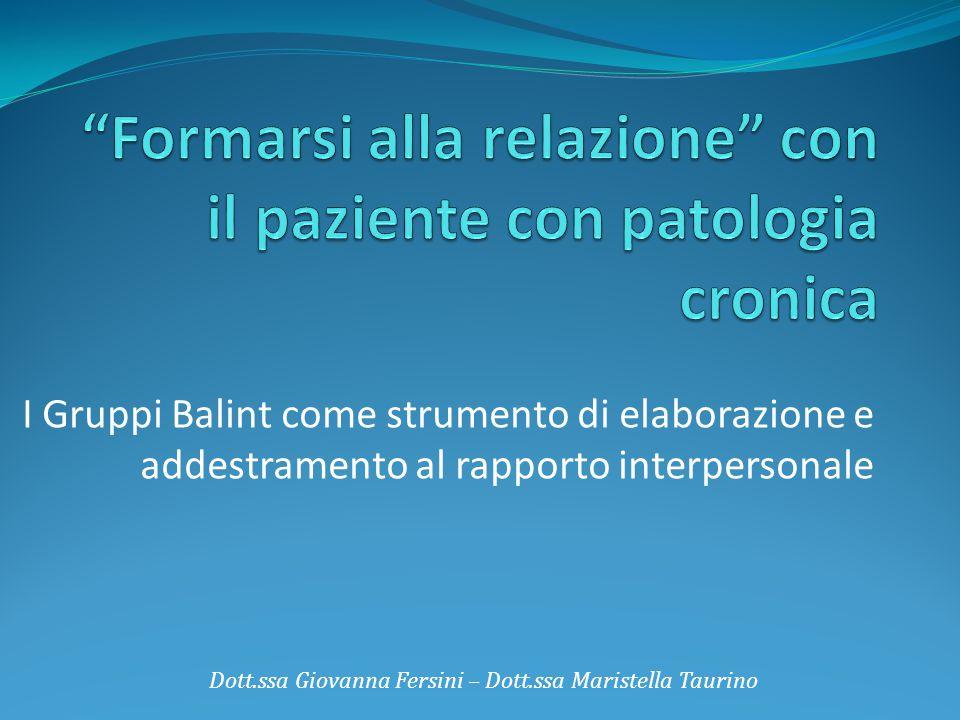 I Gruppi Balint Dott.ssa Giovanna Fersini – Dott.ssa Maristella Taurino Il valore della dimensione gruppale come risorsa per l'intervento sul paziente e come strumento per tutelare l'operatore.