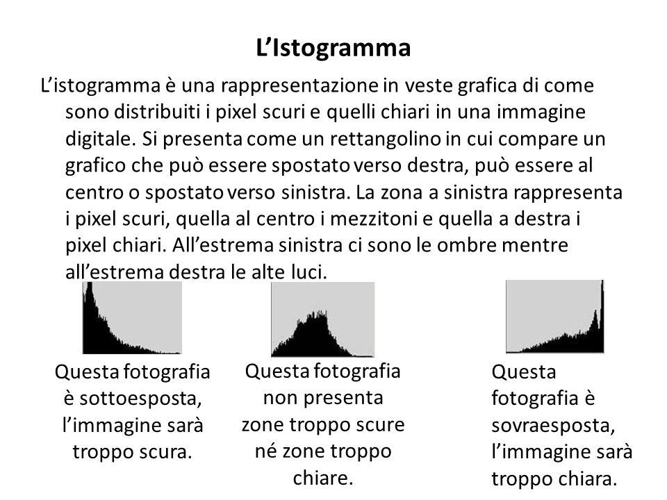 L'Istogramma L'istogramma è una rappresentazione in veste grafica di come sono distribuiti i pixel scuri e quelli chiari in una immagine digitale. Si
