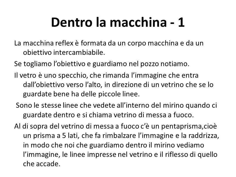 Dentro la macchina - 1 La macchina reflex è formata da un corpo macchina e da un obiettivo intercambiabile. Se togliamo l'obiettivo e guardiamo nel po
